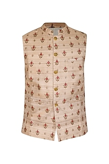 Beige Embellished Bundi Jacket by Project Bandi