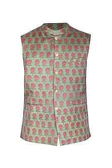 Light Green Printed Bundi Jacket by Project Bandi