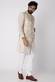 Beige Embroidered & Printed Nehru Jacket by Project Bandi