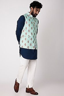 Mint Green Embroidered & Printed Nehru Jacket by Project Bandi