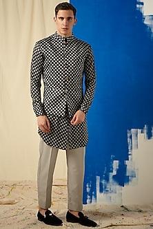 Black & Grey Printed Kurta Set With Bundi Jacket by Project Bandi