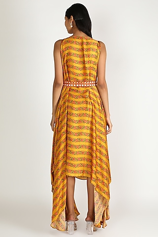 Mustard Asymmetric Dress With Belt by Punit Balana