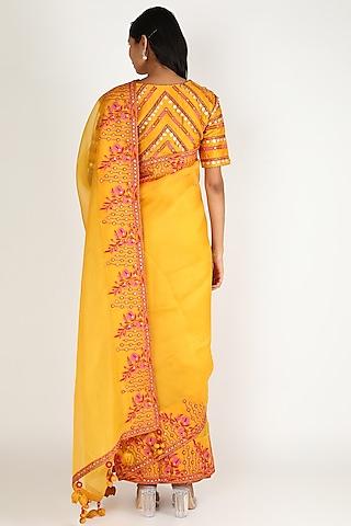 Mustard Embroidered Saree Set by Punit Balana