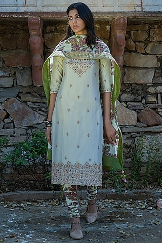 Mint Green EMbroidered Straight Kurta Set by Punit Balana