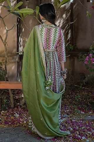 Mint Green Hand Embroidered Anarkali Set by Punit Balana
