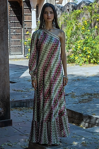 Mint Green Embroidered Maxi Dress by Punit Balana