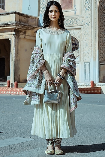 Mint Green Embroidered Anarkali Set by Punit Balana