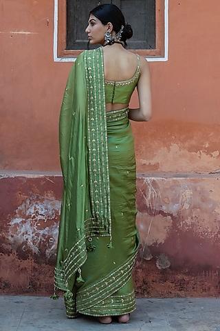 Green Embroidered Saree Set by Punit Balana