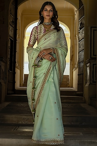 Mint Green Hand Embroidered Saree Set by Punit Balana