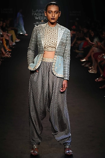 Robin Egg Blue Embroidered Printed Long Jacket With Top & Printed Dhoti Pants by Punit Balana