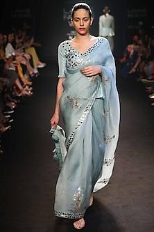Robin Egg Blue Embroidered Saree Set by Punit Balana