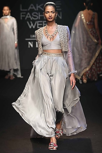 Grey Embroidered Cape With Bralette & Dhoti Pants by Punit Balana