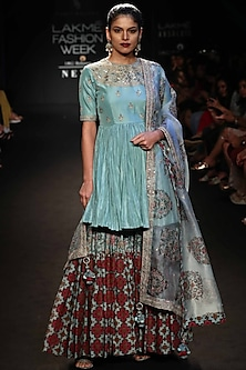 Robin Egg Blue Embroidered & Printed Gharara Set by Punit Balana