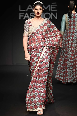 Robin Egg Blue Embroidered Printed Saree Set by Punit Balana