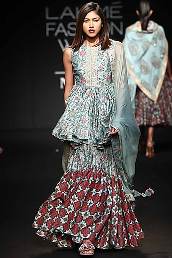 Robin Egg Blue Embroidered Printed Gharara Set by Punit Balana