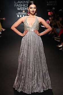 Grey Hand Embroidered Gown by Punit Balana