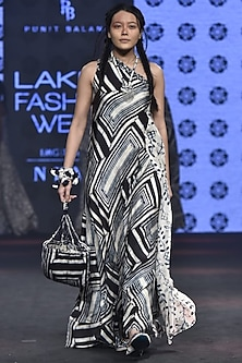 Ivory & Blue Printed One Shoulder Dress by Punit Balana