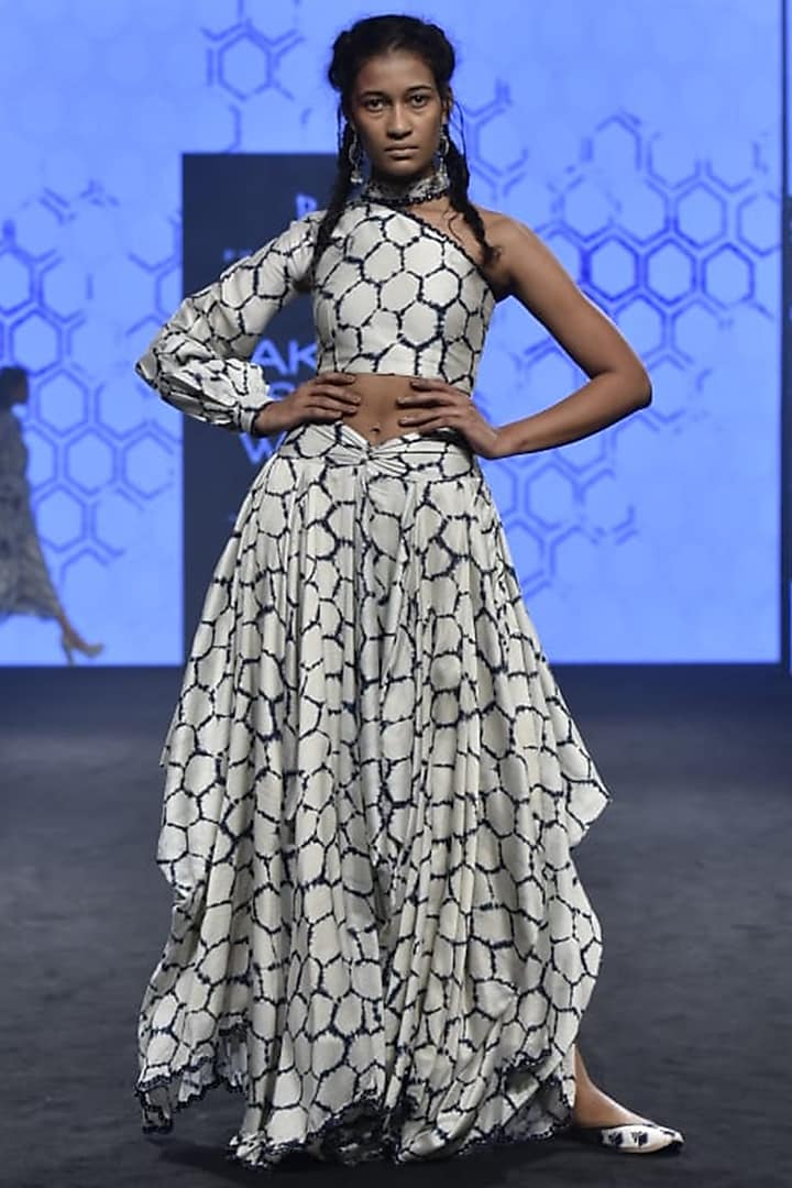 Ivory Printed One Sleeve Top With Skirt by Punit Balana