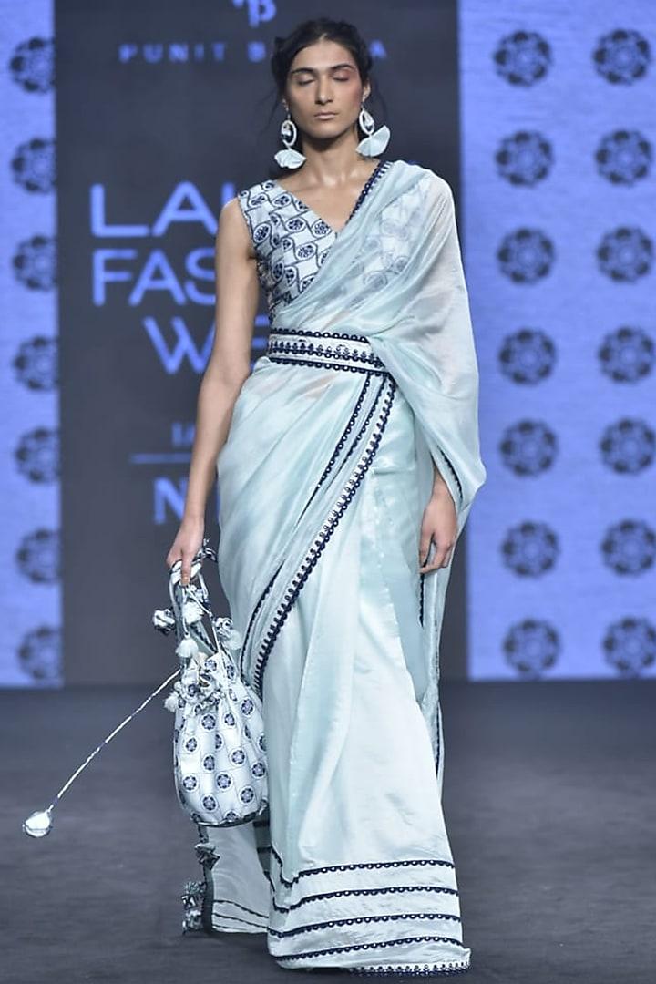 Ice Blue Embroidered Saree Set by Punit Balana