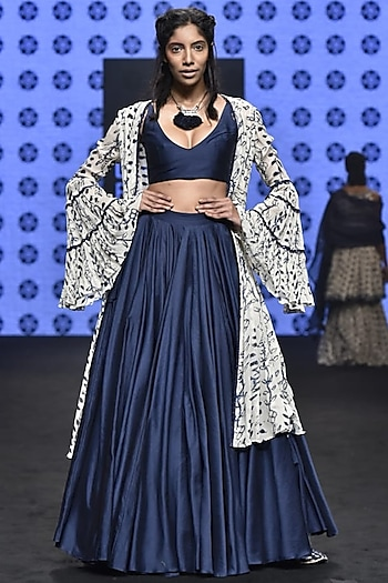 Ivory Embroidered & Printed Cape With Blue Bralette & Skirt by Punit Balana