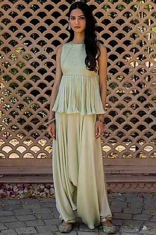 Mint Green Satin Silk Dhoti Pant Set by Punit Balana