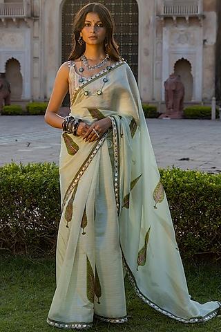 Mint Green Printed Saree Set by Punit Balana