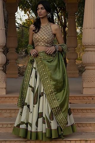 Green Printed Lehenga Set by Punit Balana