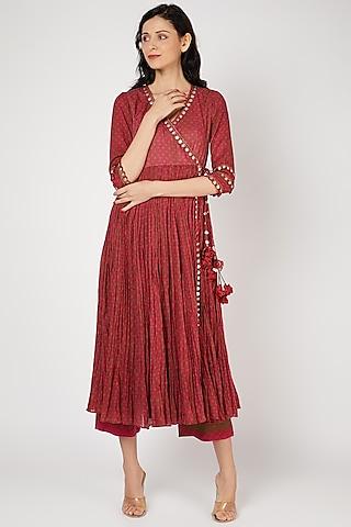 Red Silk Angrakha Kurta Set With Coin Work by Punit Balana