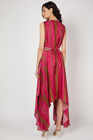 Red Printed & Embellished Dress by Punit Balana
