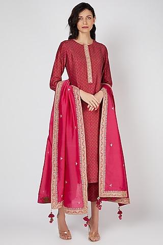 Red Straight Kurta Set With Marodi Work by Punit Balana