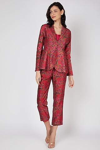 Red Printed Pant Set by Punit Balana