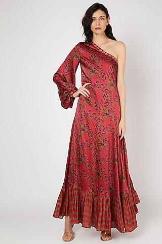 Red Embellished One Shoulder Dress by Punit Balana
