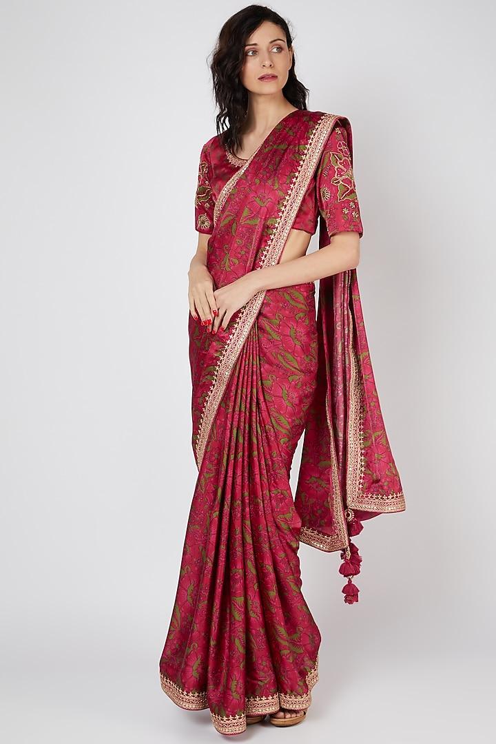 Red Satin Silk Saree Set With Marodi Work by Punit Balana