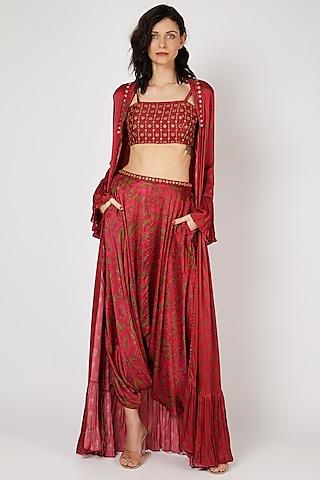 Red Printed Dhoti Set by Punit Balana