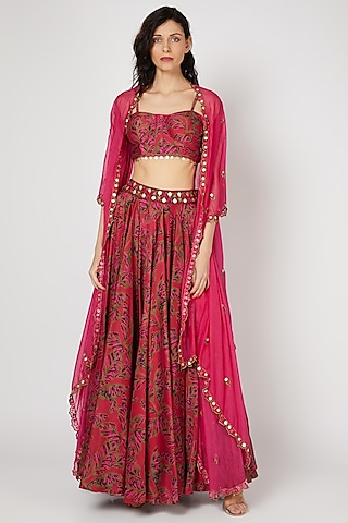 Red Embellished Skirt Set by Punit Balana