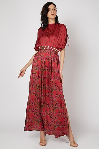 Red Embellished Maxi Dress by Punit Balana