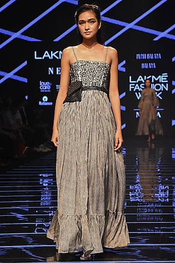 Black & White Embellished Striped Gown by Punit Balana