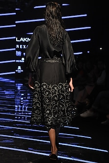 Black Embellished Skirt With Shirt & Bralette by Punit Balana