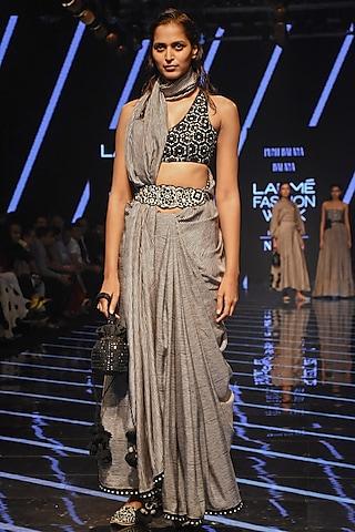 Black & White Embellished Saree Set by Punit Balana