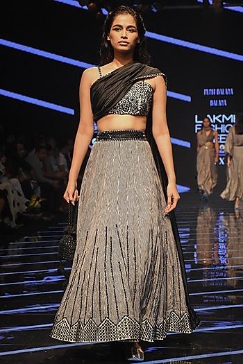 Black & White Embellished Lehenga Skirt With Blouse by Punit Balana
