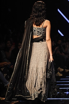 Black & White Embellished Lehenga Skirt With Blouse by Punit Balana