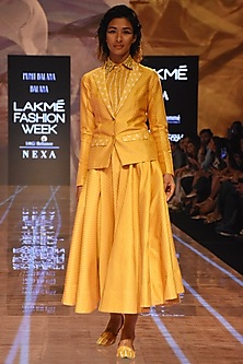 Mustard Bandhani Skirt With Shirt & Blazer by Punit Balana