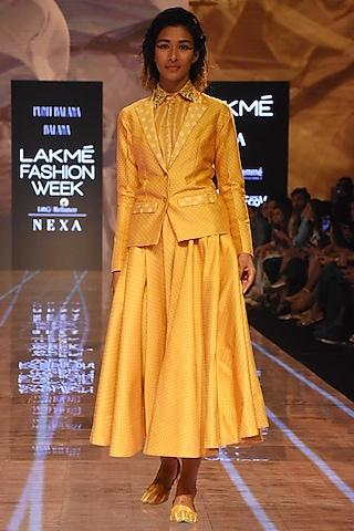 Mustard Bandhani Skirt With Shirt & Blazer by Punit Balana
