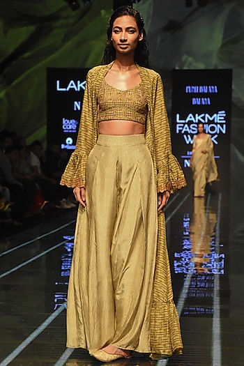 Henna Green Bandhani Bralette With Jacket & Pants by Punit Balana