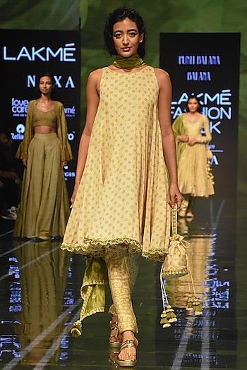 Beige & Heena Green Bandhani Printed Anarkali Set by Punit Balana