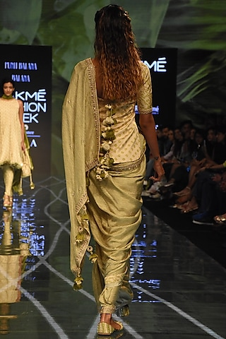 Henna Green & Beige Printed Saree Set by Punit Balana