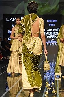 Henna Green Bandhani Saree Set by Punit Balana