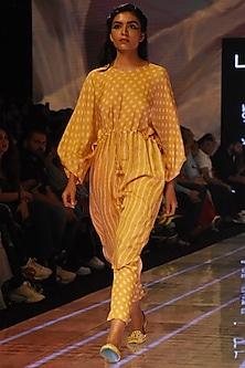 Mustard Bandhani Tunic With Pants by Punit Balana