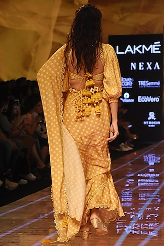 Mustard Embellished Bandhani Saree Set by Punit Balana