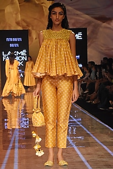 Mustard Embellished Bandhani Top With Pants by Punit Balana